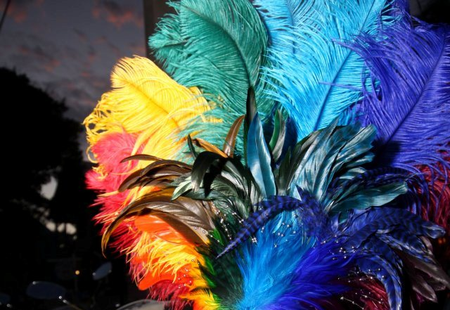 colorful feathers headdress ball